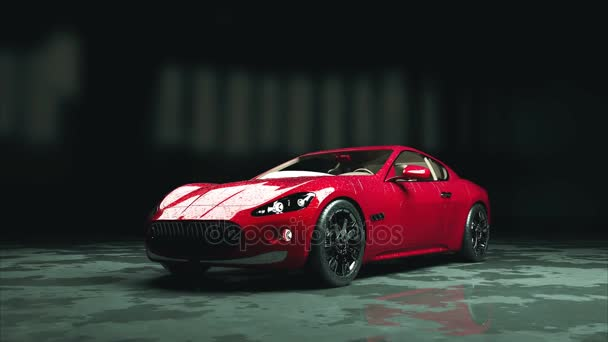 Luxury Red Sport Car With Water Drops. Photorealistic 4K Animation. U2014 Stock  Video