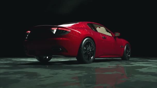 luxus piros sport autó a víz csepp. fotorealisztikus 4 k-animáció.