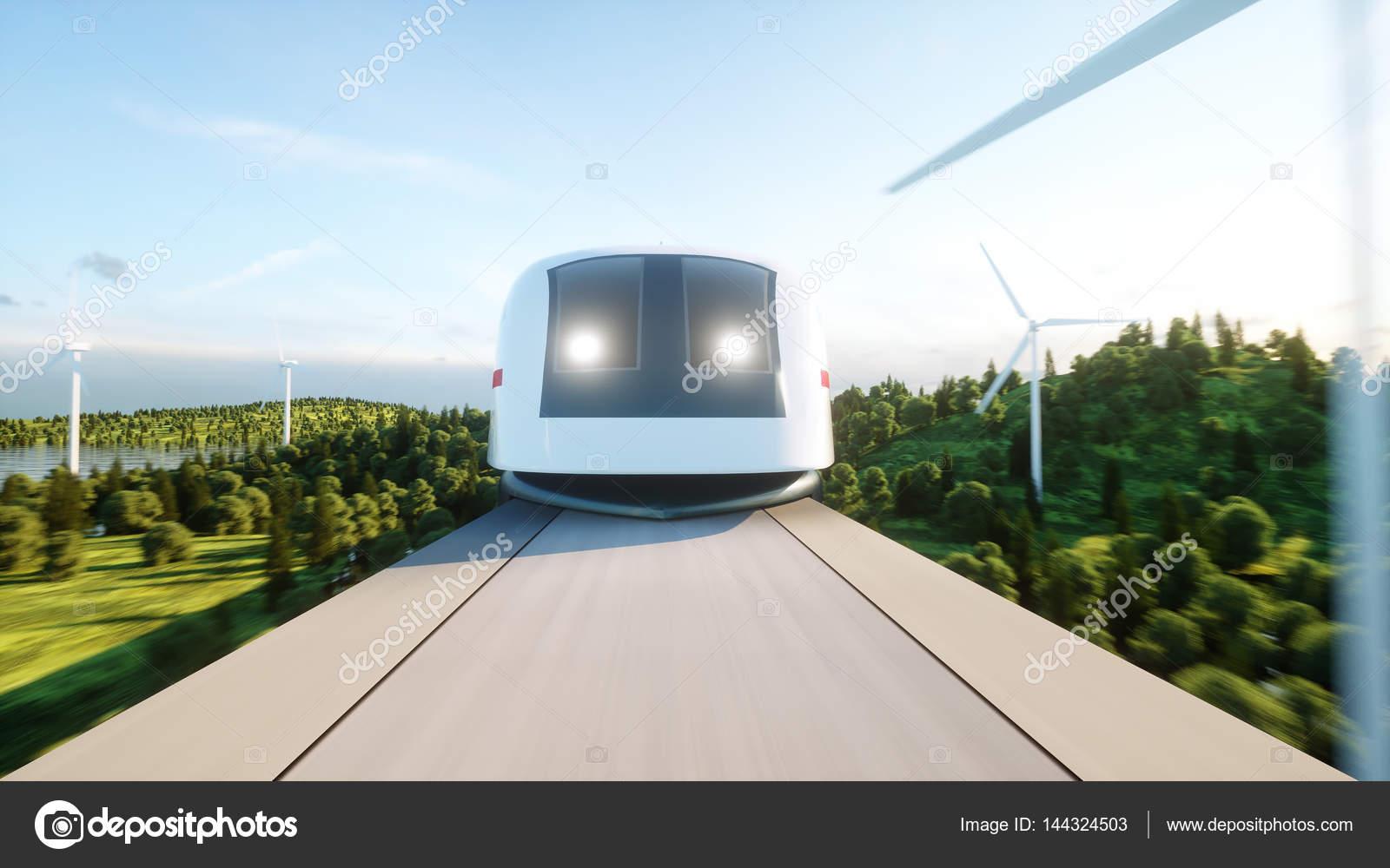 Futuristic, modern train passing on mono rail  Ecological