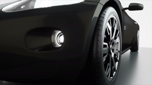 luxus fekete sport autó, piros bőr belső. Reális 4 k-animáció.