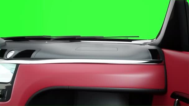 červený kožený interiér luxusní černé sportovní auto. Zelená obrazovka záběry. realistické animace 4 k.