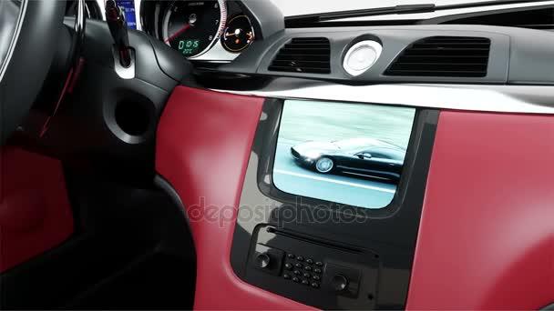 rood lederen interieur van luxe zwarte sport auto groen scherm beeldmateriaal realistische 4 k