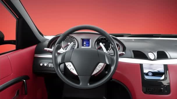 červený kožený interiér luxusní černé sportovní auto. realistické animace 4 k.