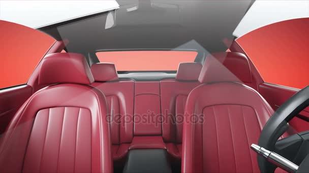 rood lederen interieur van luxe zwarte sport auto realistische 4 k animatie stockvideo