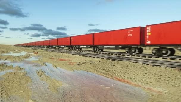 Güterzug mit Gütercontainern. Ein logistisches Konzept. realistische filmische 4k-Animation.