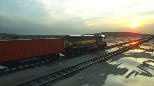 Freight train with cargo containers. Against Sunrise. logistic concept. Realistic cinematic 4k.