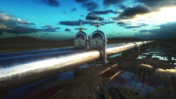 Pipeline Transport von Öl, Erdgas oder Wasser in Metallrohren. Öl-Konzept. realistische filmische 4k-Animation.