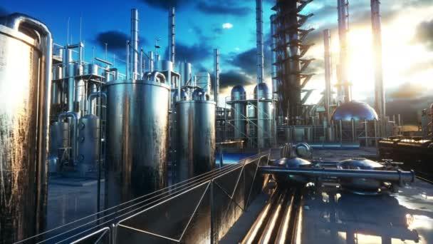 Rafinérie. Petrolium, chemička. Kovová trubka. Realistické filmové 4k animaci.