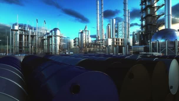 Barrel Öl in der Nähe von Tankstelle, Raffinerie. realistische filmische 4k-Animation.