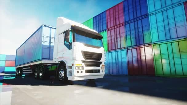Náklaďák v kontejneru depa, wharehouse, přístavu. Nákladní kontejnery. Logistické a obchodní koncepce. Realistické animace 4 k.
