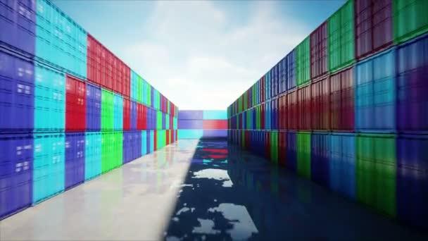 Containerdepot, Werft, Seehafen. Luftaufnahme. Frachtcontainer. Logistik und Geschäftskonzept. realistische 4k-Animation.