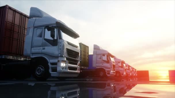 LKW im Containerdepot, Werfthalle, Seehafen. Frachtcontainer. Logistik und Geschäftskonzept. realistische 4k-Animation.