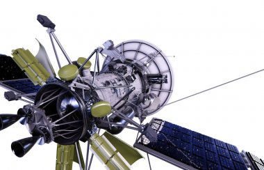 Satellite in space. Isolate on white. 3d rendering.