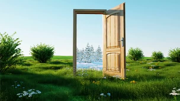 Flight through an open door  A portal winter to summer, Change of seasons  concept  Transition  Realistic 4k animation