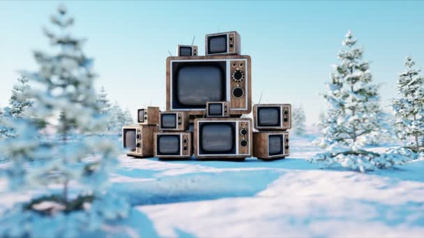 heap of retro, antique tv on the winter, snow landscape. Realistic 4k animation.