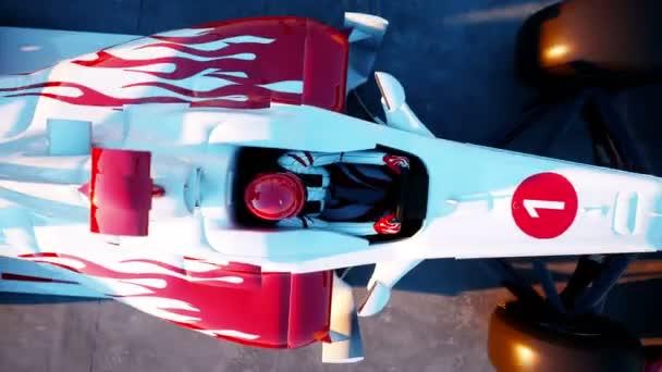 Závodník Formule 1 v závodním autě. Koncept rasy a motivace. Nádherný západ slunce. Realistické animace 4 k.