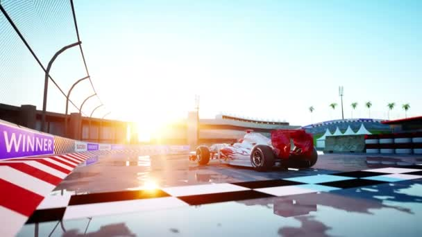 Racer of formula 1 in a racing car. Race and motivation concept. Wonderfull sunset. Realistic 4k animation.