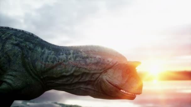 Dinosaurus. Prehistorické období, skalnaté krajiny. Překrásný východ slunce. Realistické animace 4 k