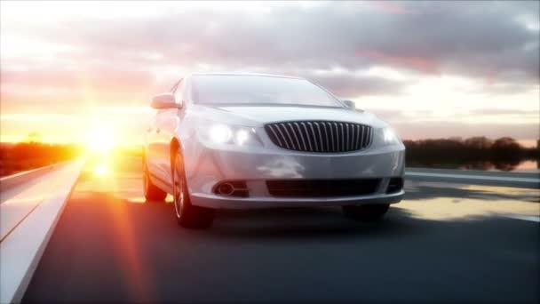 Luxus fehér autó autópálya, út. Nagyon gyors vezetés. Csodálatos naplemente. Utazási és a motiváció fogalmát. Reális 4 k-animáció