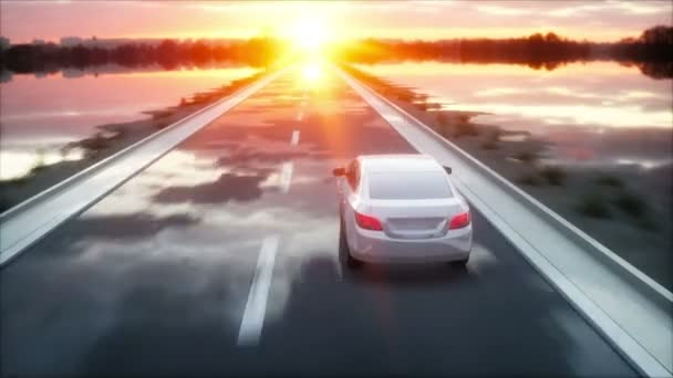 Luxury white car on highway, road. Very fast driving. Wonderfull sunset. Travel and motivation concept. Realistic 4k animation