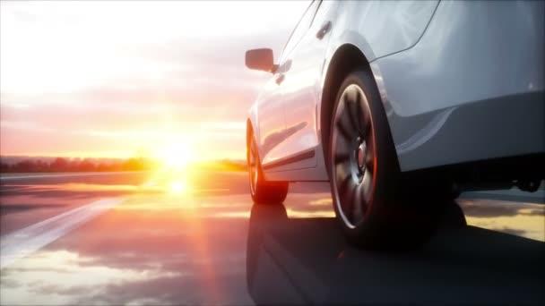 Luxus-weißes Auto auf der Autobahn, Straße. sehr schnelles Fahren. wunderbarer Sonnenuntergang. Reise und Motivationskonzept. realistische 4k-Animation