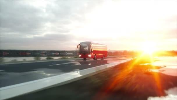 Touristenbus auf der Straße, Autobahn. sehr schnelles Fahren. Touristisches und Reisekonzept. realistische 4k-Animation.