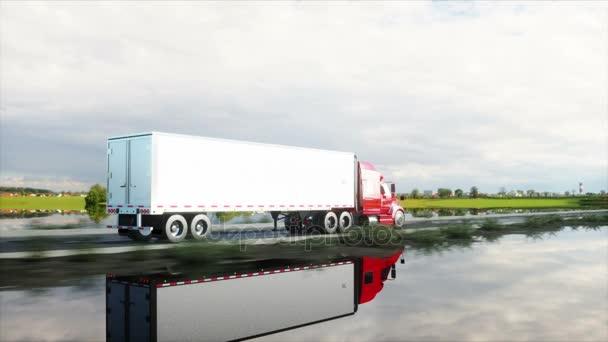 Sattelschlepper, LKW auf der Straße, Autobahn. Transporte, Logistikkonzept. 4k realistische Animation.