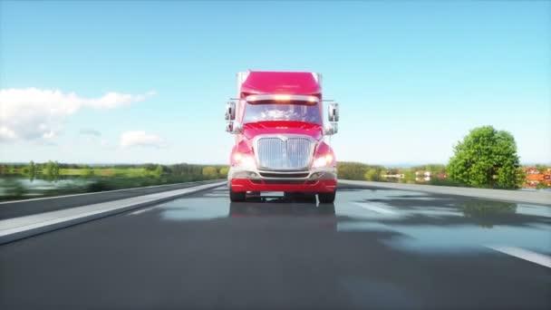návěs kamionu na silnici, dálnici. Transporty, koncepce logistiky. 4 k realistické animace.