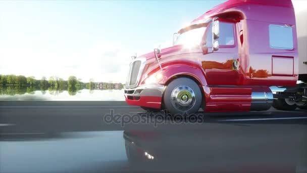 semi rimorchio, camion sulla strada, autostrada. Trasporti, logistica. 4 animazione realistica di k.