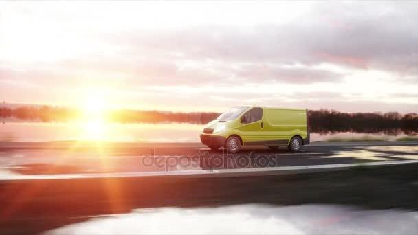 Žlutá dodávka na dálnici. Velmi rychlé jízdy. Dopravní a logistická koncepce. Realistické animace 4 k