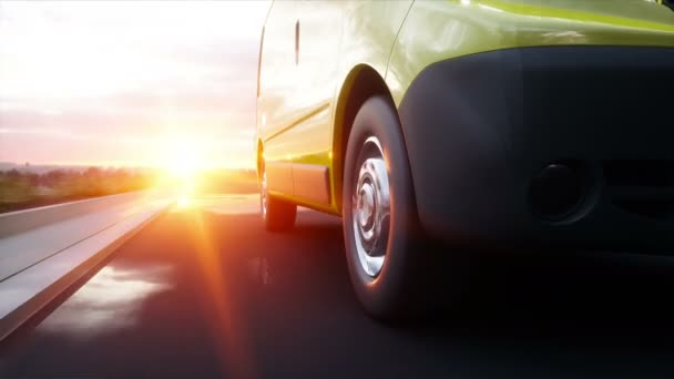 Yellow delivery van on highway. Very fast driving. Transport and logistic concept. Realistic 4k animation.