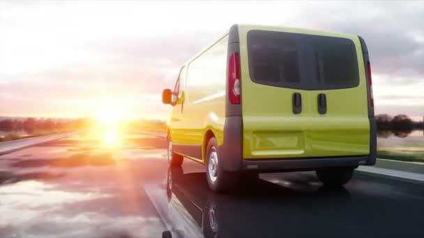 Gelber Lieferwagen auf der Autobahn. sehr schnelles Fahren. Transport- und Logistikkonzept. realistische 4k-Animation.