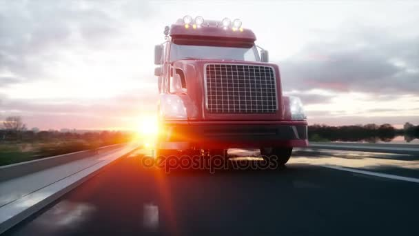 Gasoline tanker, Oil trailer, truck on highway. Very fast driving. Realistic 4K animation.