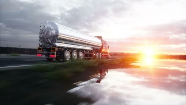 Benzintanker, Ölanhänger, LKW auf der Autobahn. sehr schnelles Fahren. realistische 4k-Animation.