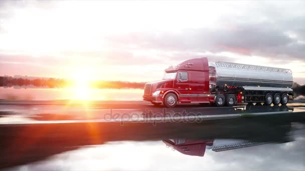 Tanker benzinu, oleje přívěsu kamionu na dálnici. Velmi rychlé jízdy. Realistické animace 4 k.