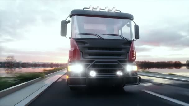 Concrete mixer truck on highway. Very fast driving. Building and transport concept. Realistic 4K animation.