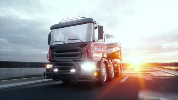 Betonmischer-LKW auf Autobahn. sehr schnelles Fahren. Bau- und Verkehrskonzept. realistische 4k-Animation.