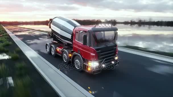 Míchačka na beton kamionu na dálnici. Velmi rychlé jízdy. Stavební a dopravní koncepce. Realistické animace 4 k.