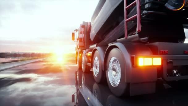 Míchačka na beton kamionu na dálnici. Velmi rychlé jízdy. Stavební a dopravní koncepce. Realistické animace 4 k