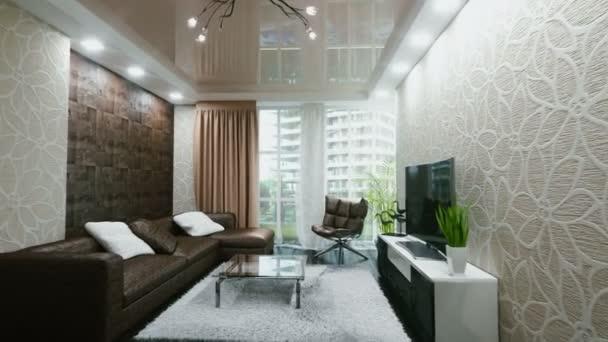 Living Room Interior 3d Vizualization. Realistic 4k Animation. U2014 Stock Video