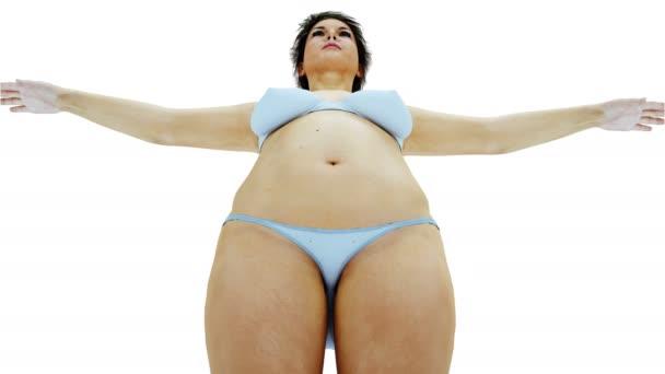 Tlusté ženy 3d. Hubnutí a obezita procesu. Koncept stravy a zdraví. Izolujte. Realistický 3d vykreslování