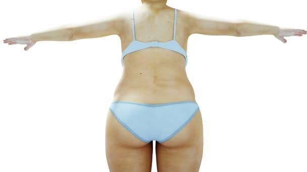 Tlusté ženy 3d. Hubnutí a obezita procesu. Koncept stravy a zdraví. Izolujte. Realistický 3d vykreslování.