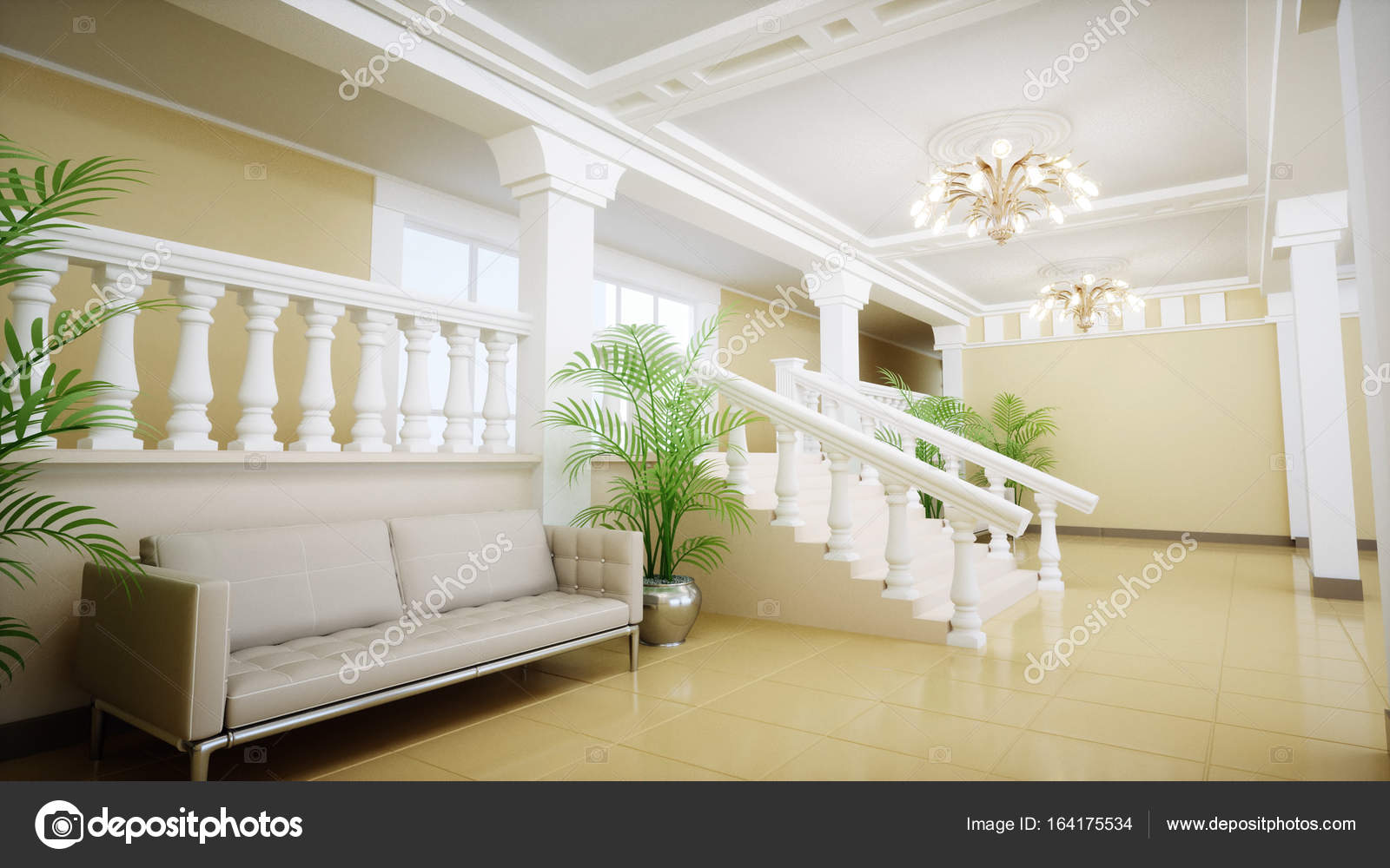 Luxury large white marble staircase of theatre. Hall of the palace ...