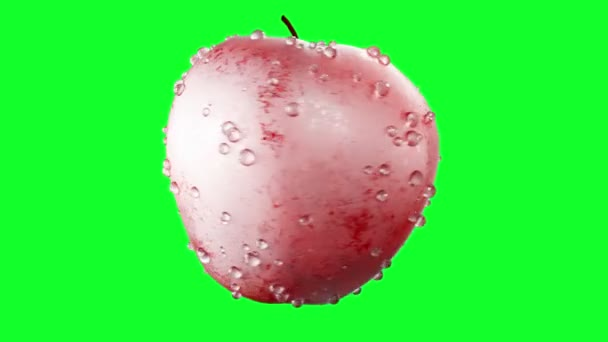 Red apples with water drops rotate on green screen. Fruits background.
