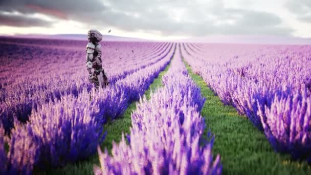 Military robot, cyborg with gun in lavender field. concept of the future. Realistic 4k animation.