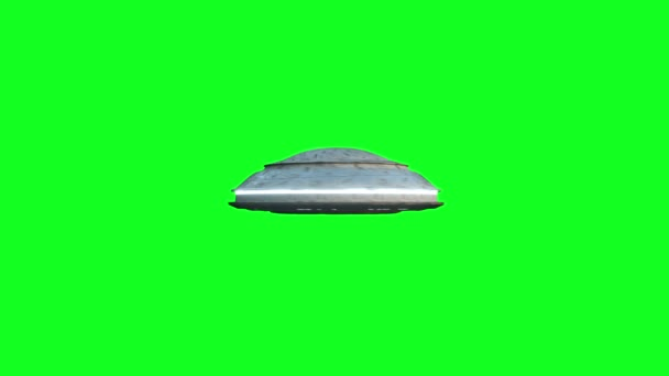 Flying saucer isolate on green screen. UFO. Realistic shaders and motion blur. 4K animation.