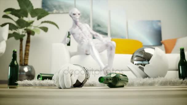 Funny Alien With Beer Sit On Sofa. Relax. Alien Concept. Realistic 4K  Animation