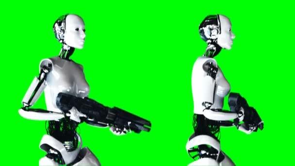 Futurisztikus, humanoid, női robot urai fegyvert. Reális mozgást és reflexiók. 4 k zöld képernyő felvétel.