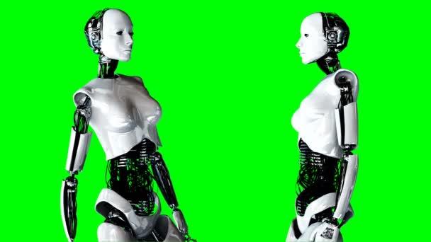 Futuristické humanoidní robot ženské je nečinný. Realistický pohyb a odrazy. 4 k zelené obrazovce záběry.
