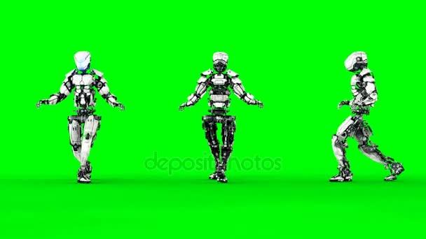 Robot je plíživý. Realistický pohyb a odrazy. 4 k zelené obrazovce záběry.